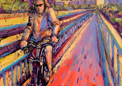 Girl Biking on the Bridge