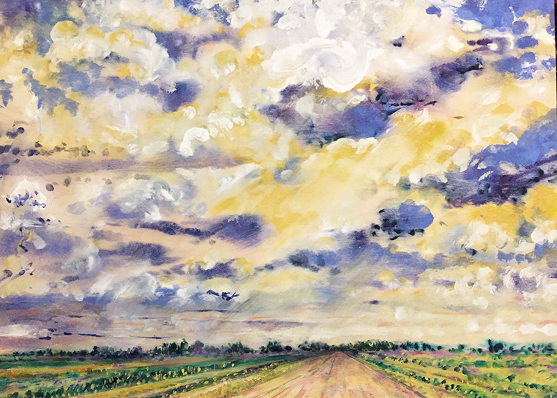 Prairie Road and Clouds